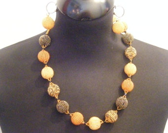 Thabasile Medium Zulu Fair Trade Natural Beads Necklace and Earrings Set Gold Mustard and Teale Single Strand Ball