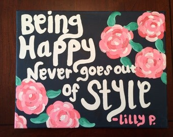 Lilly Pulitzer Quote Canvas Painting Roses Preppy College Dorm Decor