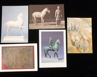 Vintage Postcards Destash, Collectible Horse Art Postcards, Vintage Art Postcards Decoupage, Mixed Media, Wall Art, Terracotta Warriors