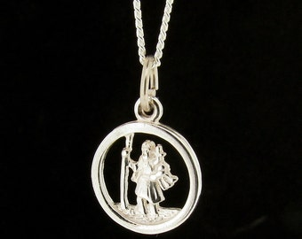 Sterling Silver 10mm Round St Christopher Pendant & Chain