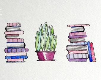 Original Watercolor Painting: Books & a House Plant