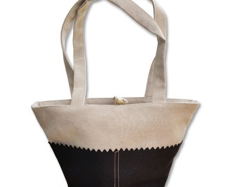 Bag small, flax and wool black Made in France Made in Breizh