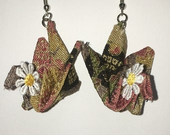Crepe fabric origami crane earrings