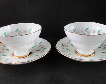 Crown Staffordshire Fine Bone China Cup and Saucer  **Set of 2!**