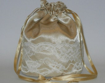 Gold Satin & Ivory Lace Dolly Bag Evening Handbag Or Purse For Wedding Or Bridesmaid