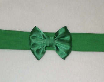 Baby's Emerald Green Cotton Lycra Hair Band with Satin Bow 0-36 months Headband