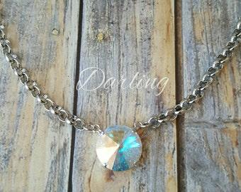 Swarovski Crystal One Stone Necklace, Designer, Custom, Made to Order, Vintage Inspired, 12mm Crystal