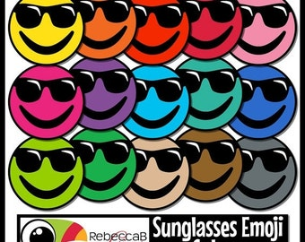 ON SALE Emoji Clip Art: Sunglasses Emoji Faces, Sunglasses Emoji Colors