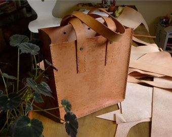 Personalized Tan Leather Grocery Tote, Handmade, Unique, Versatile, Women, Men