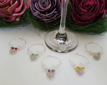 Shimmering Hearts Wine Charms (Set of 6)