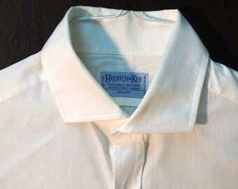 """Hilditch & Key White Poplin Shirt, Double Cuff, Cutaway Collar - 16.5"""" Collar"""