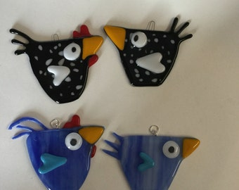 Handmade fused glass chicken and rooster suncatchers