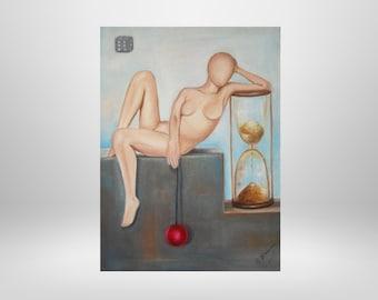 Figure 3,Frau,Sanduhr,Original oil painting, surrealism, unique, fantasy, symbolism, painting, painting