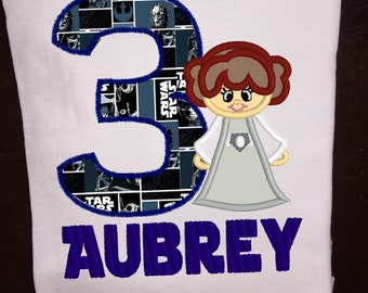 Princess Leia Birthday Shirt or infant bodysuit  applique and embrodiery