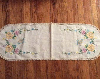 Embroidered Table Runner with Crochet Edges