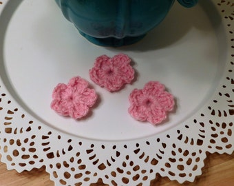 Crochet Pink Flower Appliques - Set of 3