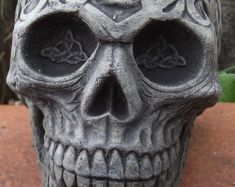 Small Decorated Skull - Stone Garden Ornament - Hand Cast - 9x7x9 cms 689 grams