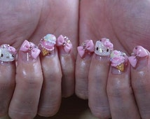 Hello kitty and Ribbon ,ice cream ,Heart 3D nail art 10 set