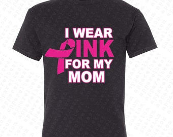 I Wear Pink For My Mom Youth T-shirt Pink Ribbon Breast Cancer Shirt  Save a Rack  Cancer Awareness Kid's Shirts