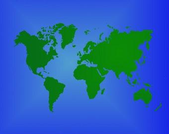 World Map Stencil (Reusable)
