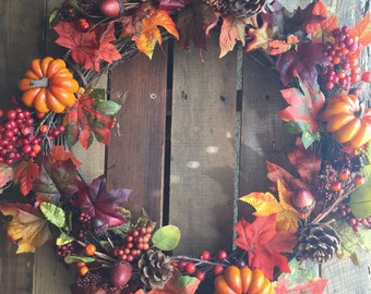 Fall Leaves Wreath with Pumpkins