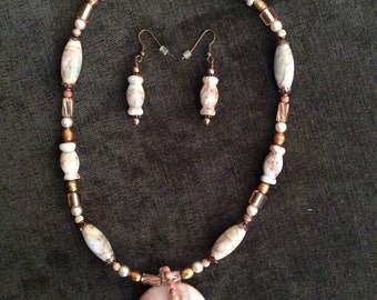 Stone beaded necklace with earrings