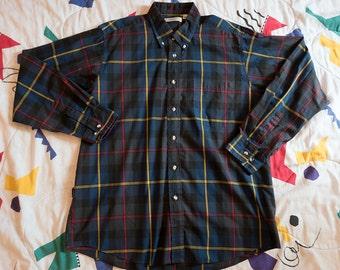 Vintage Plaid Button Up Shirt Mens Store Sears 1980s