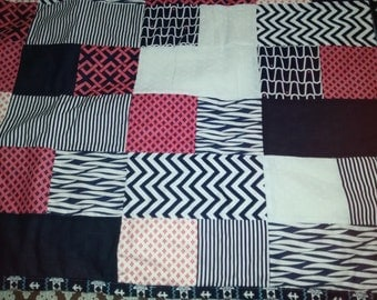 Navy blue/Coral Block lap quilt, or baby quilt