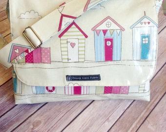 messenger bag, girls school bag, book bag, library bag, work bag, back to school, nautical messenger bag, nautical handbag, oilcloth handbag