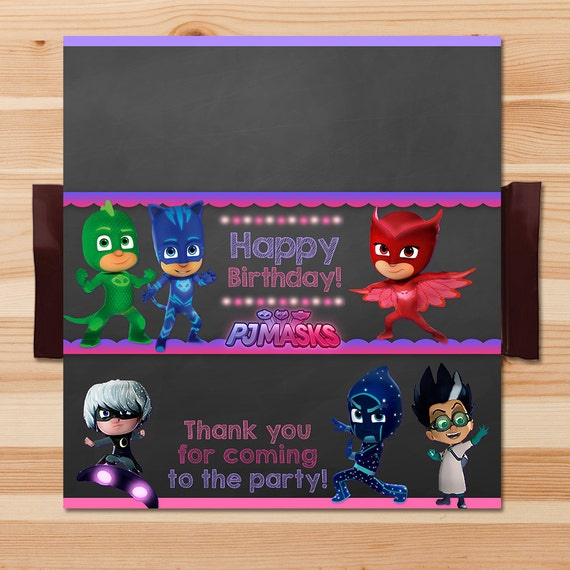 PJ Masks Birthday Candy Wrapper - Pink Chalkboard - Girl PJ Masks Chocolate Wrapper - PJ Masks Birthday Girl Party - Pj Mask Party Printable