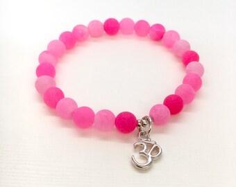 Pink frosted Agate Bracelet, Summer Bracelet, Colourful Bracelet, Yoga Bracelet, Om bracelet, Ohm bracelet, Aum Bracelet