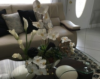 Orquids modern slik flowers arrangement