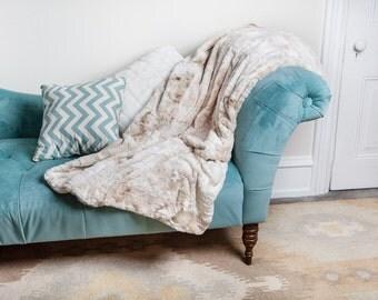 Tan Throw Blanket, Neutral, Blanket, Faux Rabbit, Faux fur Throw Blanket, Faux Fur Blanket, Gift for Mom,
