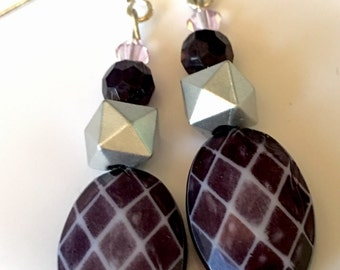 "Pink Crystal Dangle Earrings - ""Crossroads"""