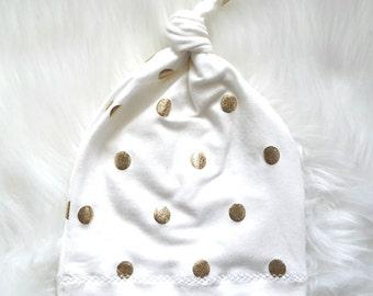Polka dot  knit hat/newborn hat/gold dot hat/metallic gold hat/ baby hat