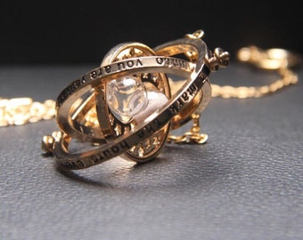 gold plated time turner necklace hourglass vintage pendant Hermione Granger for women lady girl Harry Potter