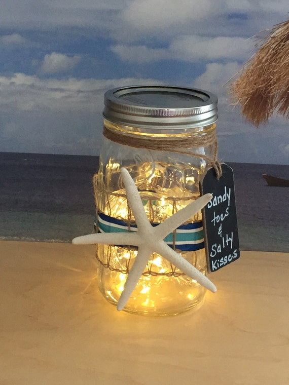 Starfish Mason Jar Light/Sandy Toes & Salty Kisses/Beach Decor/Battery Operated/Outside Party Light/Beach Cottage Decor/Gift for Girlfriend