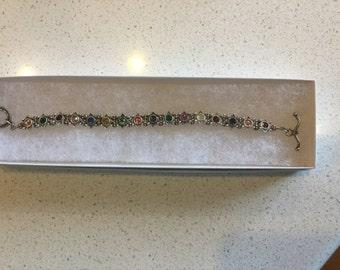 Multi colored Crystal/silver bracelet