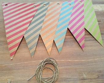 Party Banner Birthday Shower General Theme Kraft Paper Pennant Design