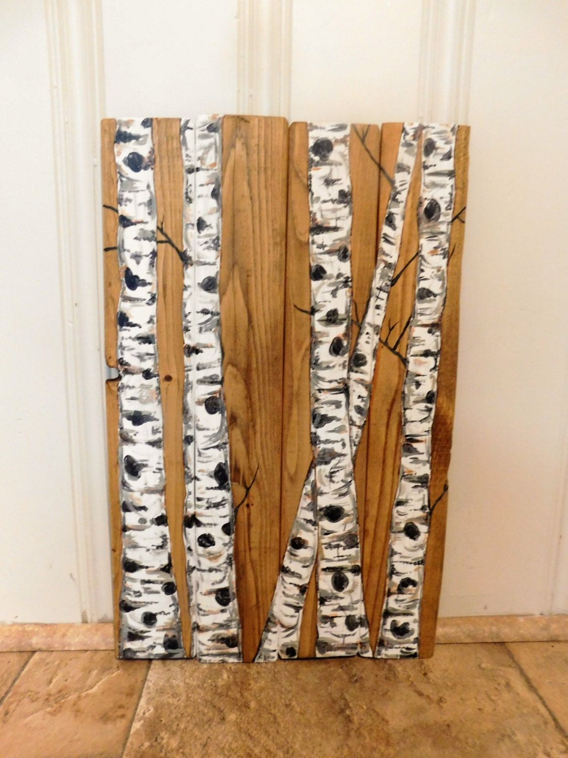 Birch trees tree branches wood sign