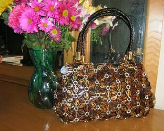 Beaded Purse Flower New Vintage Look Evening Handbag