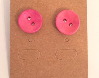 Bright As A Button Earrings - Pink