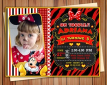 Minnie Mouse Red photo invitation, Minnie Mouse Red party digital chalkboard invitation, party invitation, Thank you card free!