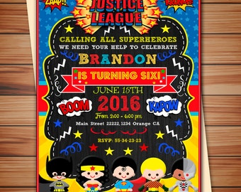 League of Superheroes party invitation for Boys, League Superheroes digital chalkboard invitation, Super heroes, Thank you card free!