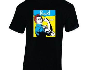 Ladies Tshirt, Rosie, Rock, Drummer shirt