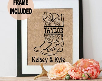 Wedding Gifts - Wedding Gift for Couple - Burlap Wedding Gift - Framed Burlap Wedding Gift - Wedding Gifts for Her - Wedding Gifts for Him
