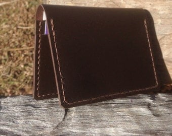 Leather card holder wallet brown kangaroo leather hand stitched