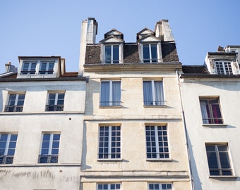 Paris Photography, Parisian Buildings on a Sunny Day, Paris Print, Home Decor, Paris Decor, Blue Skies in Paris
