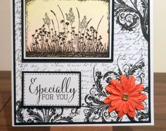Wild flower Silhouette Birthday Card