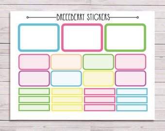Blank box stickers for journal, planner, diary - rainbow